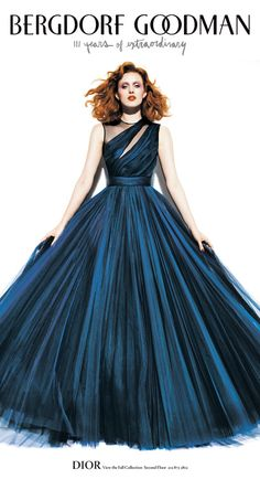 Midnight blue gown by Dior.