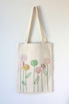 Bolso de lona algodón bordado con apliques de por TwoElephantsShop
