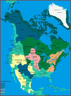 Native Indians of North America Linguistic map