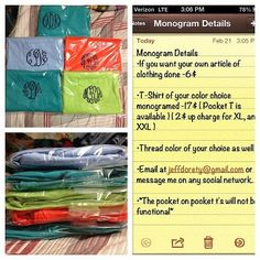 Monogrammed Frocket by MonogramsByMen on Etsy, $17.00 for their shirt or monogram your own clothing for only $6! Quality work you won't find this cheap anywhere else  :-)