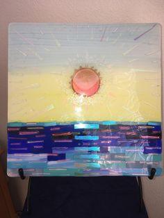 Ocean Sunset, Summer Sunset, Winter Moon, Art Stand, Pink Moon, Panel Art, Glass Wall Art, Light Turquoise, Dichroic Glass