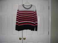 Women: Plus Size 3x Stripe Blouse or Sweater Colors Red, Black and White By alfred dunner (FREE S)-$13.50