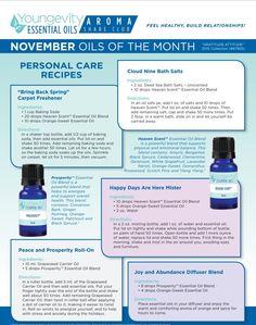 Aroma Share Club Essential Oils - Nov 2015 Recipes #youngevity #ygyclub #essentialoils