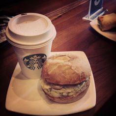 "@rasnabhasin's photo: ""Lunch at Starbucks! We are going crazy @sevenest7 #starbucks #english #sandwitch #burger #egg #ham #cheese #hotchocolate #chocolate #hot #swedish #green #cp #foodgasm #foodporn #fun #friends #lunch #instagood #instalike #instalove"""