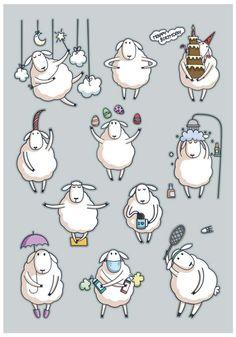 Anna Kukushkina on Behance Baby Sheep, Cute Sheep, Sheep Drawing, Sheep Illustration, Sheep Art, Simple Cartoon, Doodle Art, Doodle Ideas, Aesthetic Art