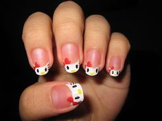 Hello kitty tip nails
