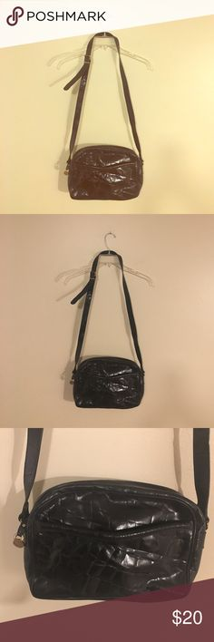 Vintage Black Leather FURLA Handbag PURSE Croc texture. Authentic !! In good vintage condition. please see pictures. Leather has wear inside or lining please see pics. The hardwear has Wear also. Please see pics . Allot of life left it's a beautiful bag!! Furla Bags Crossbody Bags