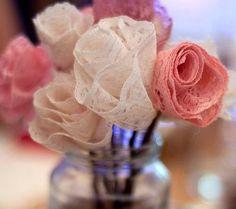 Lace flower centerpiece - jam jar fillers, vintage wedding, rustic wedding, non floral centerpiece - 10 flowers