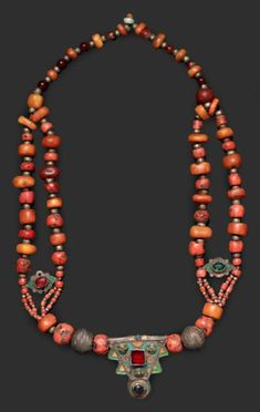 Morocco | Necklace from the Anti Atlas region | Double row of coral and amber, interspersed with small silver beads, Silver pendants with enamel and glass cabochon | 1,700€ ~ sold (Feb '14)