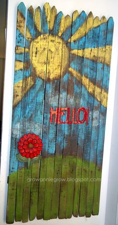 #8 - wood picket fence hello sign with flower