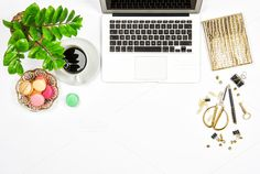 Office supplies and laptop Flat lay by LiliGraphie on @creativemarket