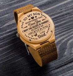 Great Gift For Son - Son Watch - Engraved Wooden Watch Perfect Gift For My Son Great Gifts For Wife, Gifts For Fiance, Christmas Gifts For Husband, Gifts For Your Boyfriend, Love Gifts, Best Gifts, Diy Gifts, Unique Gifts, Handmade Gifts For Men