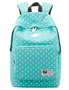 Leaper Casual Style Polka Dots Laptop Backpack/ School Bag/ Travel Daypack/ Handbag with Laptop Lining Light Blue