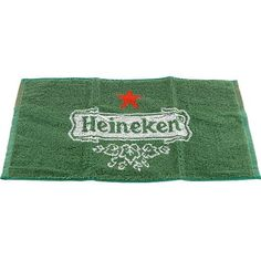 "Heineken Bar Towel by KegWorks. $8.95. Officially licensed Heineken product.. Great for drying hands and tackling spills.. Absorbent fibers soak up more.. Dimensions: 19 1/4""W x 9 1/8""H.. Brilliant green in color.. You don't have to visit a Heineken shop for great, officially licensed merchandise. We've got a gorgeous green Heineken towel right here. The best part is, it's just as absorbent as it is good looking, which makes it great for wiping up spills behind the bar..."