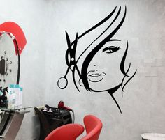 Wall Decal Beauty Sexy Hair Barber Shop Vinyl by Wallstickers4you