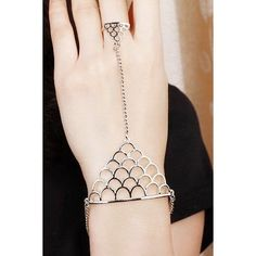 Chic Hollow Out Fish Scales Shape Bracelet With Ring For Women ($2.87) ❤ liked on Polyvore featuring jewelry, bracelets and fish jewelry