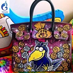 a8649e41a841 lots money NEW Graffiti Custom bags genuine leather totes women Messenger  Bags Hand painting money bag
