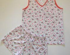 Pijama feminino blusa regata com shorts - Malha Poliester/Viscose