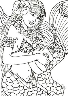 Musical Mermaid by Artist Diane S Martin Mermaid Fantasy Myth Mythical Mystical Legend Siren Whimsy Whimsical Mother Child Baby Art Coloring pages colouring adult detailed advanced printable Kleuren voor volwassenen coloriage pour adulte anti-stress kleurplaat voor volwassenen Line Art Black and White