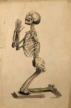 Illustration of a skeleton praying