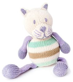 Finn + Emma Organic Rattle Buddy~Cat Made from 100% GOTS certified organic cotton Contains 100% wool fill It is a fair trade product Completely hand knit