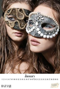 Check out this beautiful and glamorous Harper's Bazaar Arabia 2012 calendar, in collaboration with Swarovski Elements! JANUARY: Balu Joias made with Swarovski Elements FEBRUARY: Amato Couture… Fashion Mask, Look Fashion, Theme Carnaval, 2012 Calendar, Eyes Wide Shut, Venetian Masks, Venetian Masquerade, Beautiful Mask, Masquerade Ball
