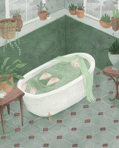 Bathtime 8x10 print by taryndraws on Etsy