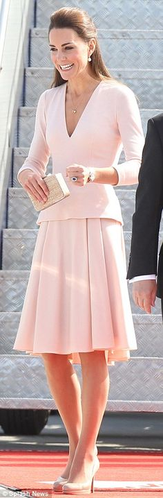 Perfect in pink: Kate Middleton chose a pale pink Alexander McQueen for her Adelaide visit in South Australia