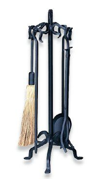 Home :: Tool Sets :: Uniflame :: Uniflame 5 Piece Heavy Weight Black Wrought Iron Fireset - Poker Set, Fireplace Accessories, Wrought Iron, Candle Sconces, Wall Lights, Tools, Black, Appliques, Instruments