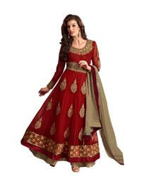 Buy Maroon net embroidered semi stitiched salwar with dupatta anarkali-salwar-kameez online
