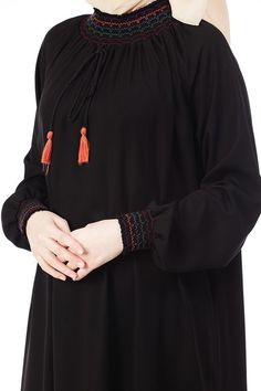 Butikzade - Şahsenem Elbise DE-3027-01-Siyah Muslim Women Fashion, Arab Fashion, Teen Fashion Outfits, Fashion Dresses, Hijab Style Dress, Dress Design Sketches, Hijab Fashionista, Designer Party Wear Dresses, Sleeves Designs For Dresses