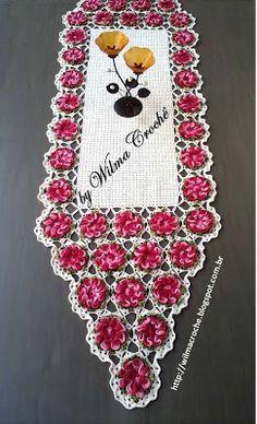 Wilma Crochê: Caminho de mesa em crochê flor Camélia pink