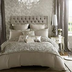 Buy your Kylie Minogue Alexa Silver Bed Linen Range online now at House of Fraser. Why not Buy and Collect in-store? Dream Bedroom, Home Bedroom, Bedroom Ideas, Master Bedrooms, Master Suite, Kylie Minogue At Home, Silver Bedding, Silver Bedroom Decor, Luxury Bedding Sets