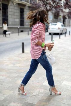 * Pink stripe button up + jeans sandals