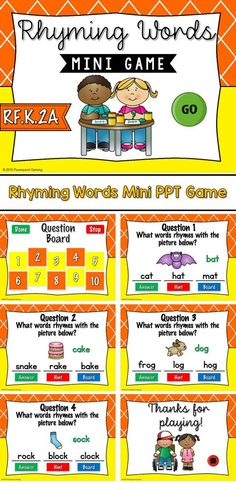 Engage students with this fun, interactive rhyming game. In this mini game, students are to come up with words they rhyme with the given picture. I have given 3 answers, but students can name more! Rhyming Games, Rhyming Words, Phonics, Powerpoint Games, Literacy Activities, Alphabet Activities, Literacy Stations, Mini Games, Student Engagement