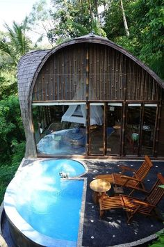 If you own enough property, this could be a awesome spa and pool add-on. Though I like the idea of it being against a tree line, separate from the home entirely. (Its like a free vacation really.)  Not to mention that if you gave it more space, you could rent it out to parties.