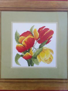 Tulip cross stitch kit by Semco - 14 count - bold and easy design suitable for cushion cover by KindredClassics on Etsy Stool Covers, Seat Covers For Chairs, Needlepoint Kits, Needlepoint Canvases, Simple Cross Stitch, Easy Cross, Knitting Projects, Craft Projects, Large Envelope
