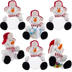 6pk Plush Snowman Picture Frame Trinket Box For Holiday Gifts