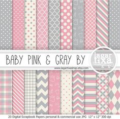 Pale Pink and Grey Gray Digital Paper Scrapbooking for baby shower invitations backgrounds patterns it's a girl