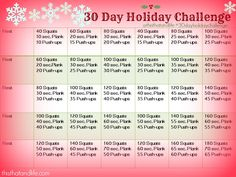 30 Day Holiday Challenge - only 5 minutes a day! *Maybe just add some other crunch type exercises? 30 Day Fitness, Sport Fitness, Fitness Diet, Fitness Motivation, Health Fitness, Fun Workouts, At Home Workouts, Body Workouts, Workout Ideas