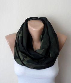 green infinity scarf green viscose loop scarf womens scarf