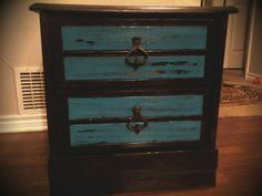 Dark chocolate and turquoise nightstand with distressed look. #picture does not do this one justice www.thevintagebutterflyonline.com