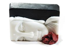 Black White Red Buddha Soap With Lotus  Decorative by SoapRhapsody, $10.00