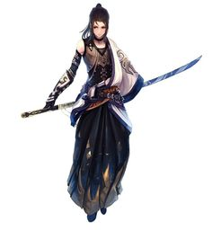 Androgynous Samurai (with Nodachi sword) artwork by unknown artist.