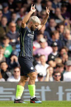 Sergio Aguero of Manchester City celebrates after scoring his team's. Manchester City Wallpaper, Sergio Aguero, Fulham Fc, Kun Aguero, Messi And Ronaldo, Premier League Matches, Old Trafford, European Football, Arsenal Fc