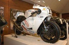 Steve Hislop's Norton NRS 588 Rotary Engine. Steve Hislop rode the bike to a record braking win in the Isle of Man Senior TT in 1992, his race average of 121.8 mph was still standing in 1998. In the earlier Formula 1 race he had lapped at 123.3 mph to finish second to Phil McCallen but in the TT race he beat Carl Fogarty on a works Yamaha by 4.4 seconds.  The NRS 588 engine produces over 135 hp at no more than 10,000rpm and runs on unleaded petrol from a pump, maximum speed is 185mph.