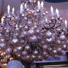 ornaments + a crystal chandelier = gorgeous!
