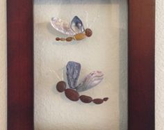 Sea glass art pebble art framed and matted by EmilysNatureEmporium
