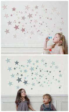 Constellation wall decals from France, now avail in the US. How sweet are those soft blues and pinks?