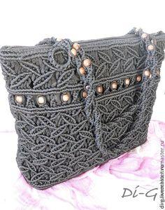 Сумки плетеные - чёрный,орнамент,аксессуары,сумка,плетение,Макраме,шнур